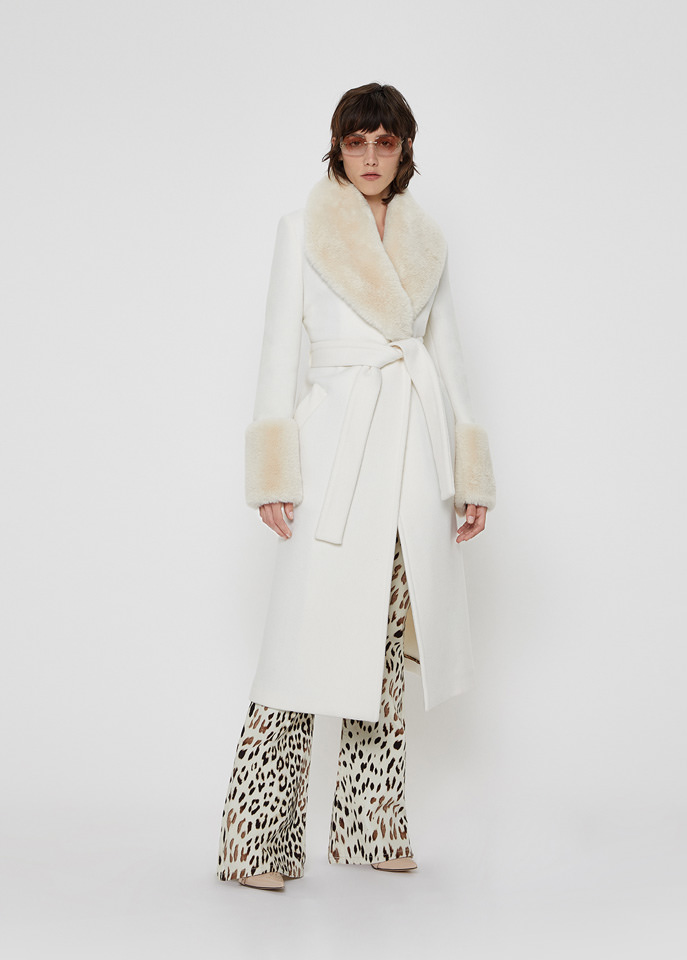 BLUMARINE: COAT IN WOOL AND CASHMERE WITH ECO-FUR