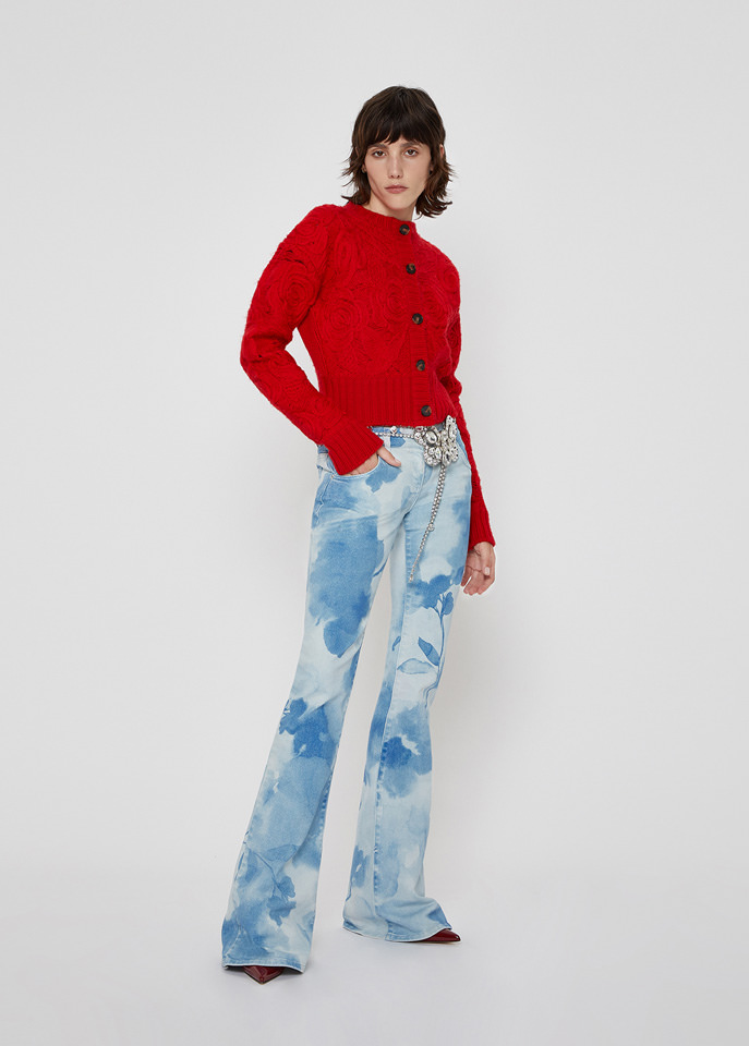 BLUMARINE: CARDIGAN IN WOOL WITH EMBROIDERY ROSE