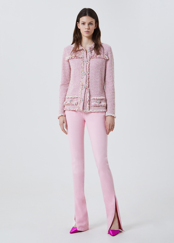 BLUFIN: BOUCLÉ JACKET WITH JEWEL BUTTONS