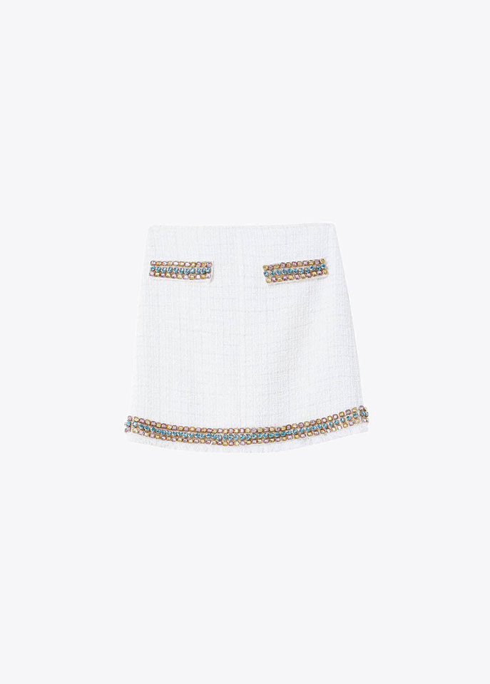 BLUMARINE: BOUCLE SKIRT WITH EMBROIDERY RHINESTONES