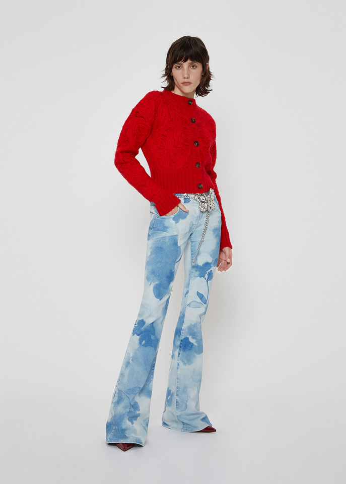 BLUMARINE: BELL BOTTOM JEANS IN PRINTED COTTON