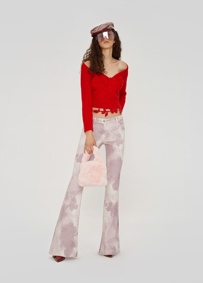 BLUMARINE: CROPPED SWEATER IN WOOL WITH EMBROIDERY BUTTERFLY