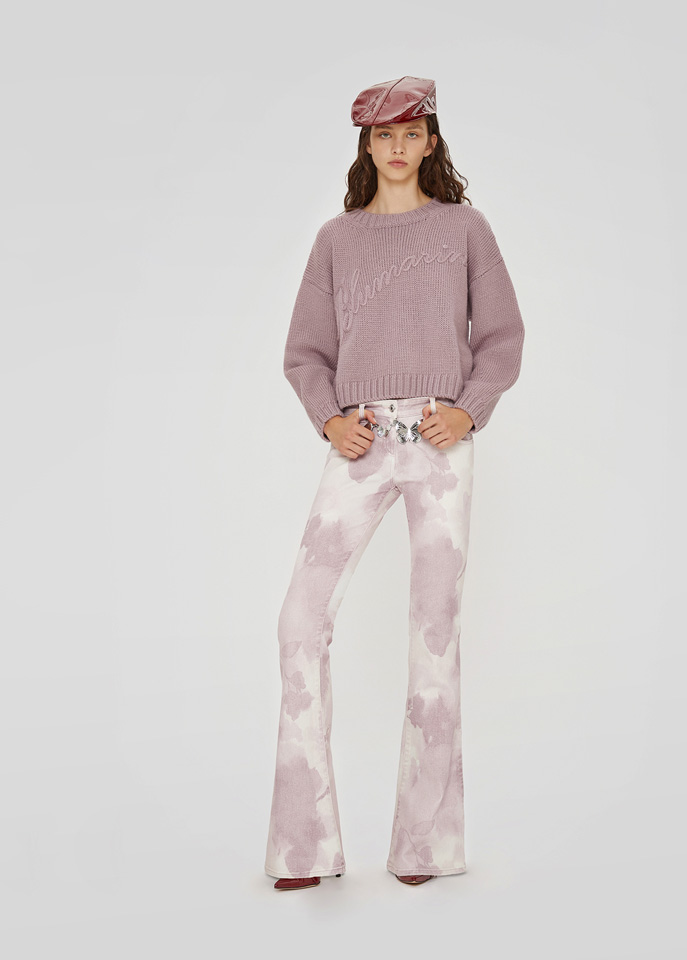 BLUMARINE: SWEATER IN WOOL WITH EMBROIDERY LOGO