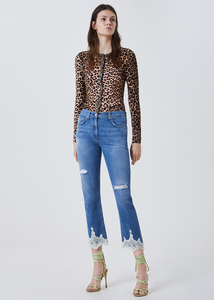 BLUFIN: ANIMAL-PRINT SWEATER WITH EMBROIDERY