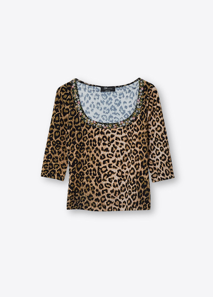 BLUMARINE: ANIMALIER EMBROIDERY PRINT SWEATER