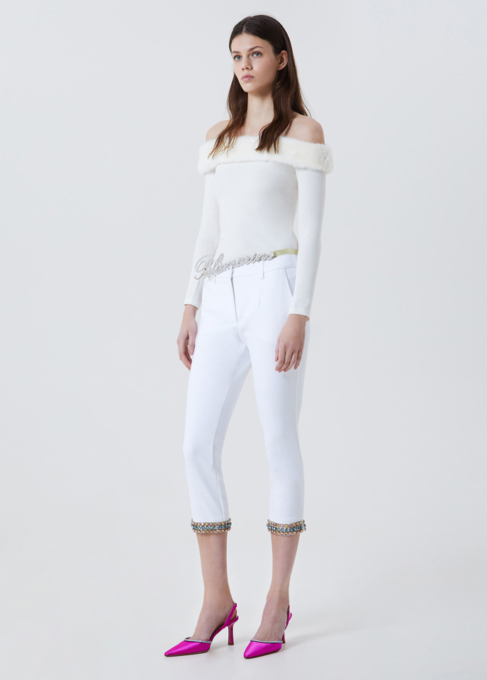 BLUFIN: PANTS WITH EMBROIDERY AND GEMSTONES