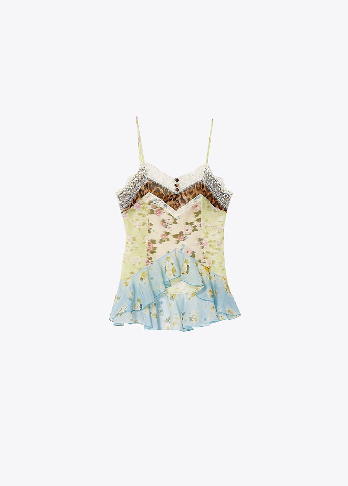 BLUMARINE: PRINTED TOP IN COTTON AND SILK