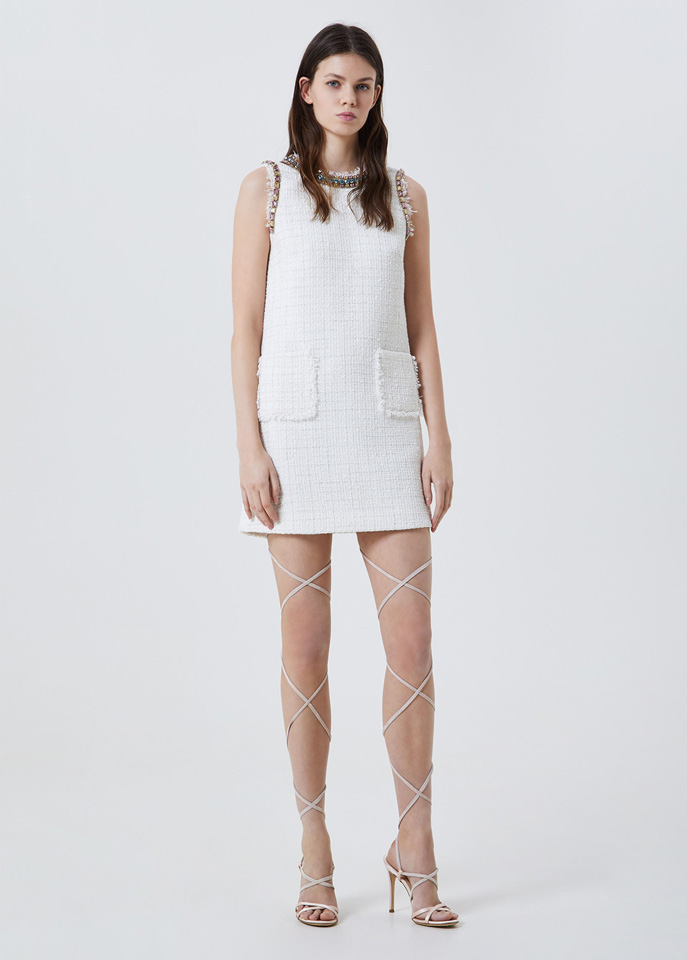BLUFIN: BOUCLÉ DRESS WITH RHINESTONE EMBROIDERY
