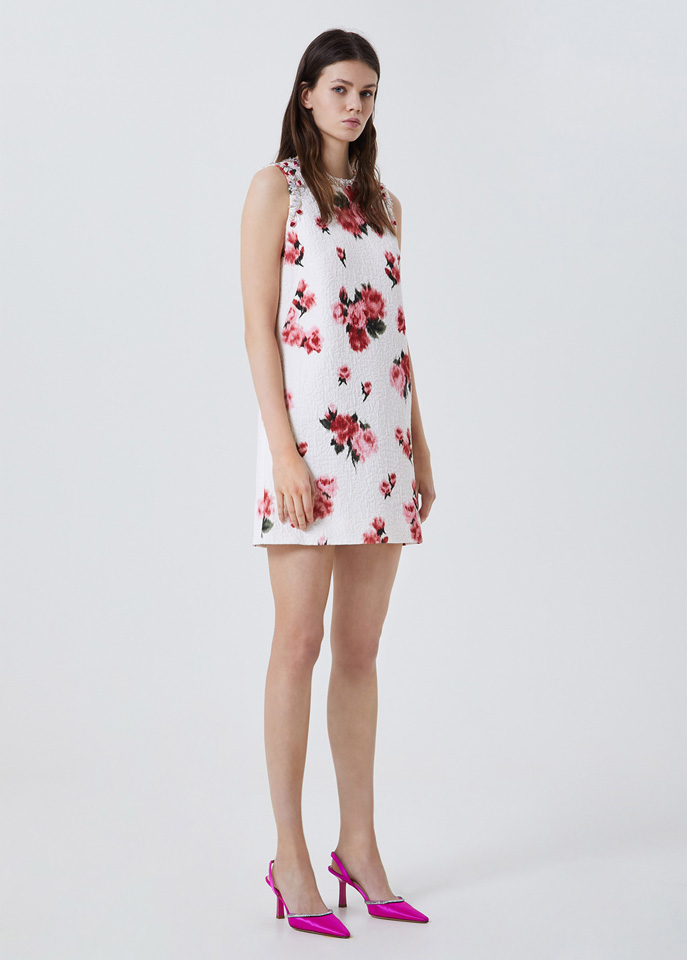 BLUMARINE: ROSE PRINT DRESS WITH EMBROIDERY
