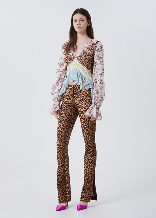BLUMARINE COTTON AND SILK BLOUSE WITH PRINT