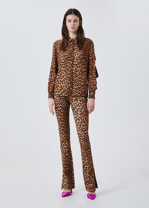 BLUMARINE ANIMAL-PRINT SILK SHIRT
