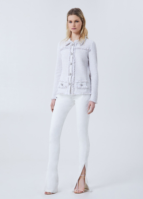 BLUMARINE BOUCLÈ JACKET WITH JEWEL BUTTONS