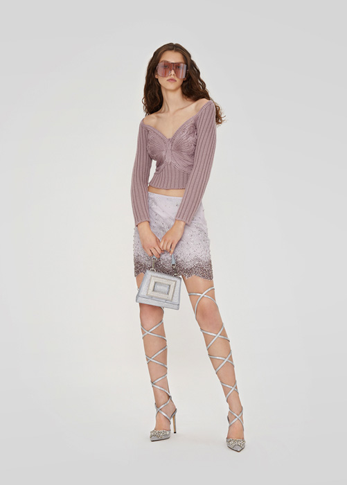 BLUMARINE: SKIRT IN LACE WITH EMBROIDERY RHINESTONES
