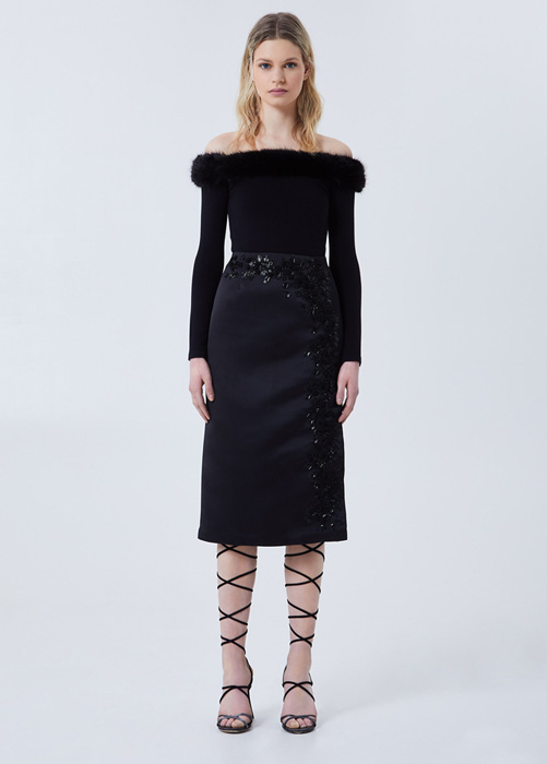 BLUMARINE MIDI SKIRT WITH ROSE EMBROIDERY