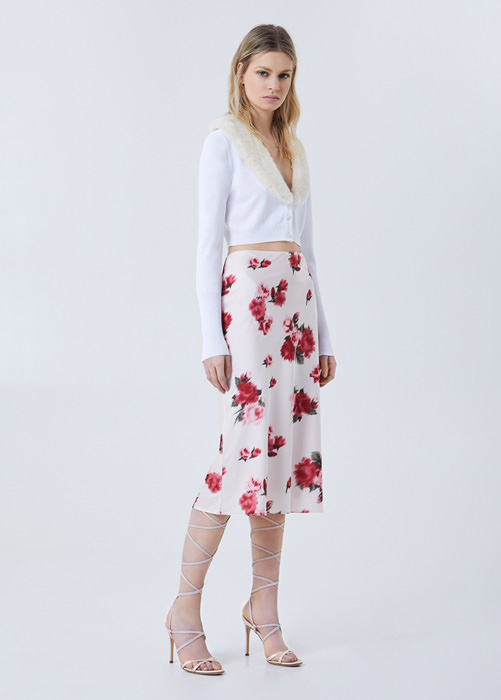 BLUMARINE ROSE-PRINT FLECKED SKIRT
