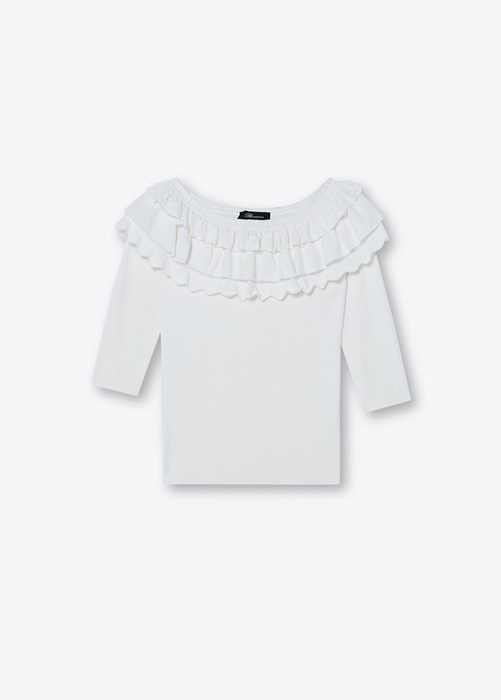 BLUMARINE DROPPED SHOULDER SWEATER WITH RUFFLES