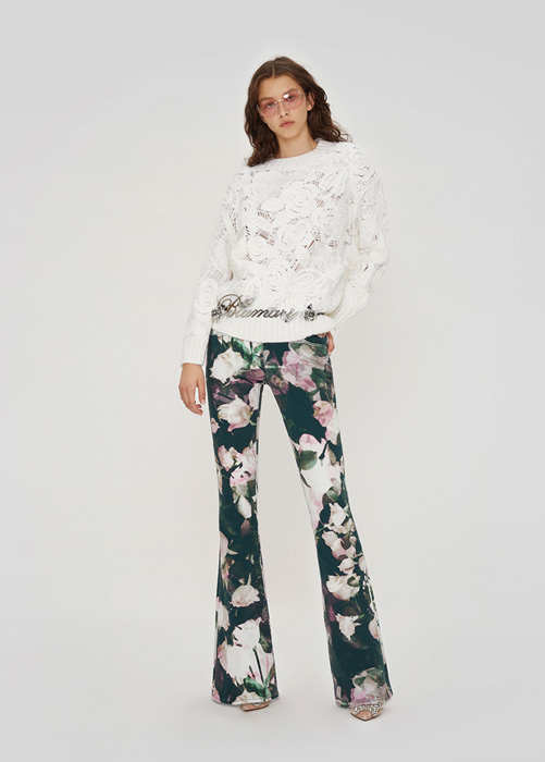 BLUMARINE: SWEATER IN WOOL WITH EMBROIDERY ROSE