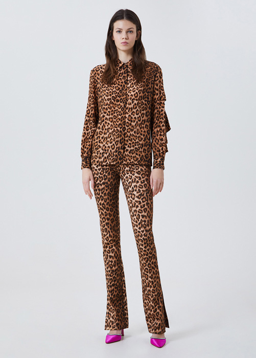 BLUMARINE ANIMAL PRINT LOW-RISE TROUSERS