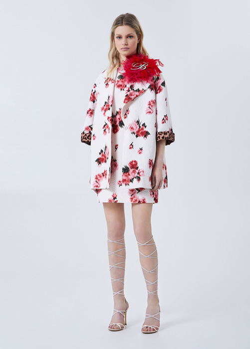 BLUMARINE ROSE AND ANIMAL-PRINT OVERCOAT