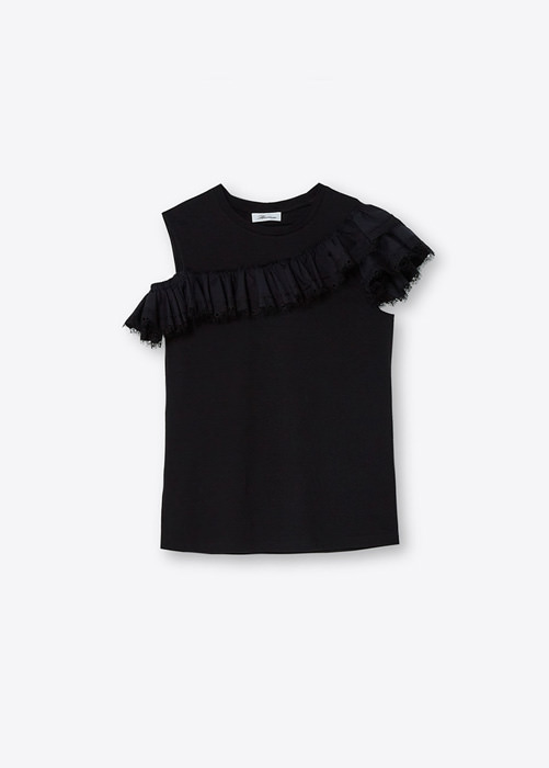 BLUMARINE DOUBLE RUFFLE T-SHIRT IN COTTON
