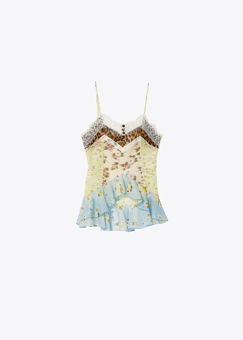 BLUMARINE PRINTED TOP IN COTTON AND SILK