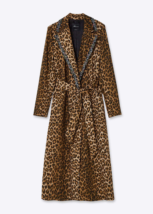BLUMARINE ANIMALIER EMBROIDERY PRINT TRENCH COAT