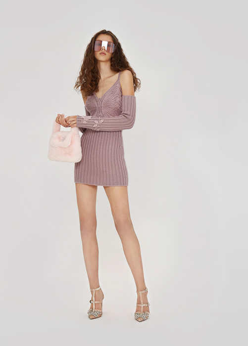 BLUMARINE DRESS IN WOOL WITH EMBROIDERY BUTTERFLY
