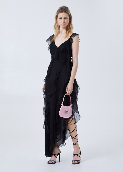 BLUMARINE LONG DRESS WITH FLOUNCES