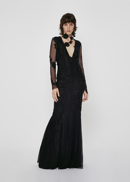 BLUMARINE LONG DRESS IN TULLE WITH EMBROIDERY ROSE