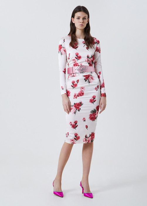 BLUFIN: ROSE-PRINT DRESS WITH DRAPERY